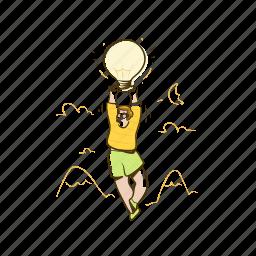 lightbulb, thought, idea, innovation, man