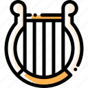 instrument, lyre, music, song icon