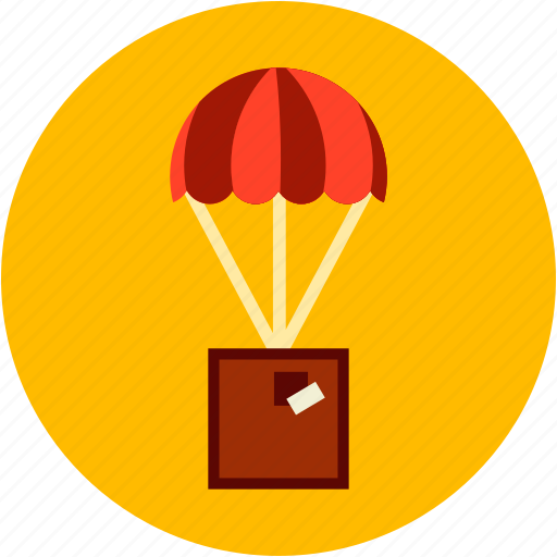 delivery, drop, parachut, safe, shipping icon