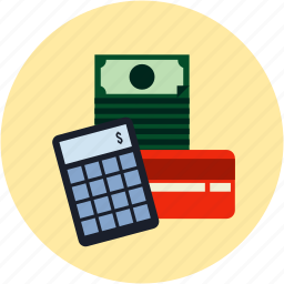 bills, calculator, credit card, dollars, ecommerce, money, payment icon