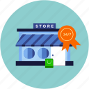ecommerce, market, open, shop, store icon