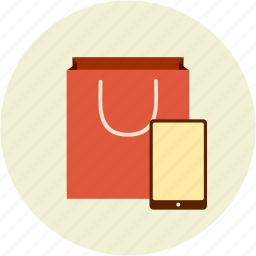 bag, buy online, shopping, tablet icon
