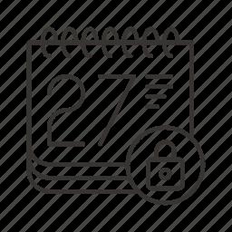 calendar, date, event, lock, schedule, time icon