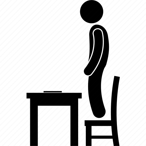 chair, man, punish, punishment, school, standing, table icon