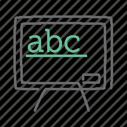 abc, alphabet, board, education, school, study, whiteboard icon