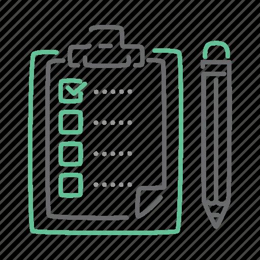 checklist, clipboard, exam, list, paper, test icon