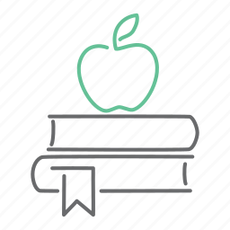 apple, book, education, knowledge, read, study icon