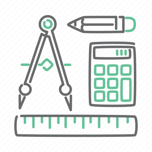 calculator, design, draw, graphic, pencil, ruler, tools icon