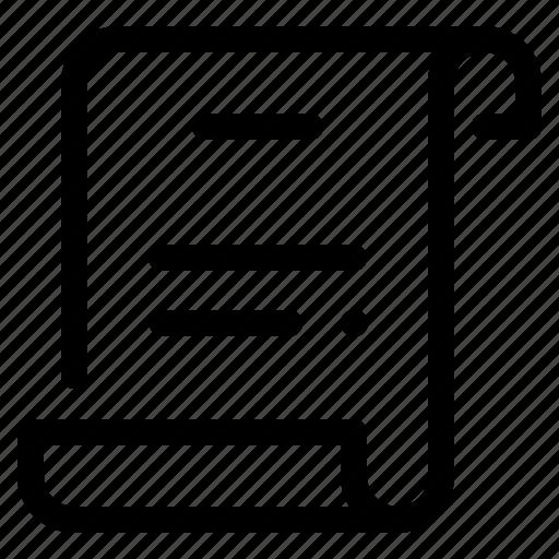 document, paper, school, script, scrolling, statement, text icon