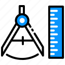 compass, geometry, maths, measure, precision, ruler icon