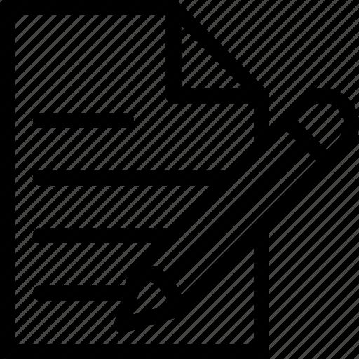article, document, notes, pencil, signature icon
