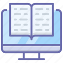 digital book, digital library, ebook, online bookstore, online library icon