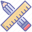 drawing tools, pencil, ruler, sketching tools, stationery icon