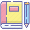 book, diary, knowledge, notebook, notepad, rule book, textbook icon