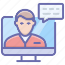 online consultation, online course, online training, video call, webinar icon