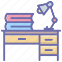 class table, reading table, student desk, study table icon