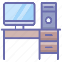 computer desk, computer table, pc table, study table, workplace, workspace icon