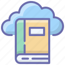 cloud book, digital book, ebook, online book, online library icon