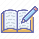 diary, drafting pad, homework, notebook, notepad, writing icon