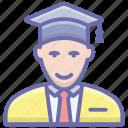 college student, graduate, pupil, scholar, student icon