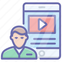 video learning, video lecture, video lesson, video streaming, video training, video tutorials icon