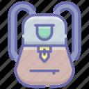 backpack, knapsack, luggage bag, school bag, shoulder bag, travel backpack icon