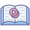 e book, online book, video book, video learning, video lecture, video lesson, video tutorials icon