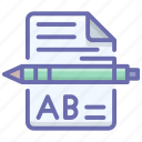 content, content writing, educational notes, school notes, written document icon