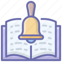 agenda, book notification, reading notification, study agenda, study reminder icon