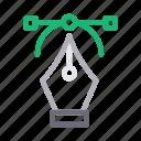 bezier, curve, design, nib, pen icon
