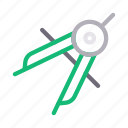 compass, education, geometry, protractor, stationary icon