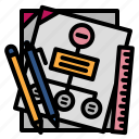 paper, stationary, pen, pencil, ruler, report, mind mapping