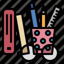 school, stationary, pen, pencil, ruler, book, eye glasses