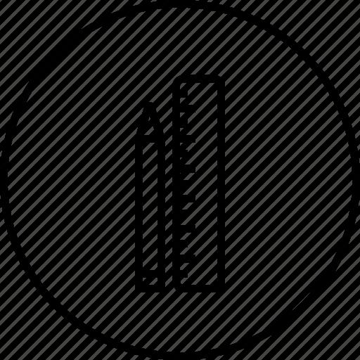 measure, pen, pencile, ruler, scale, sketch, tool icon