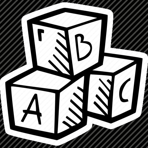 blocks, education, kids, learning, letter, preschool, school icon