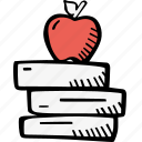 apple, books, education, kids, learning, preschool, school icon