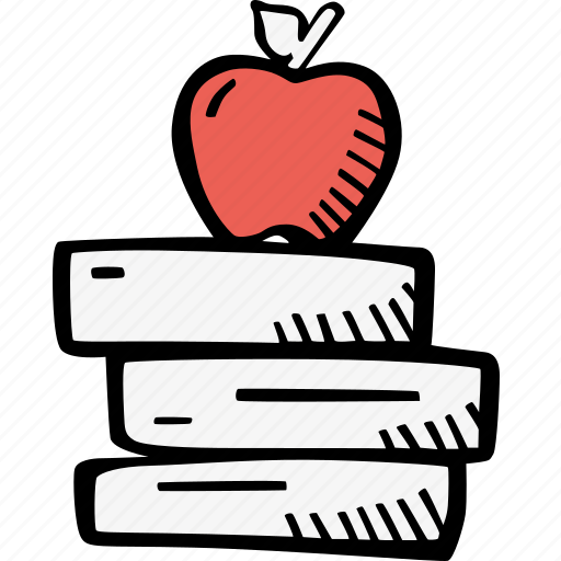apple, books, education, kids, learning, preschool, school icon