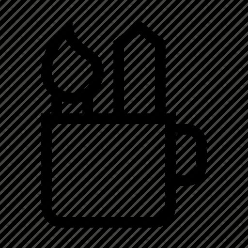 brush, designer, holder, mug, pencil, stationery icon