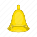 bell, cartoon, gold, hand, metal, school, shiny icon
