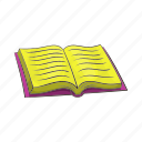 book, cartoon, education, library, literature, open, paper icon