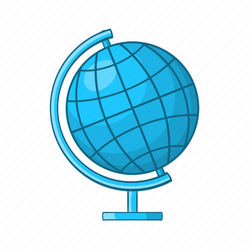 cartoon, earth, education, geography, globe, map, planet icon