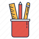 learn, maintenace, pencil, ruler, teaching stuff icon