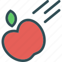 apple, fruit, law, phisycs, throw icon