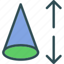 cone, geometry, height, triangle icon