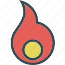 fire, flam, heat, nucleus icon