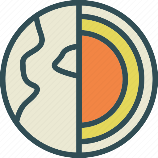 composition, earth, heat, nucleus, sphere icon