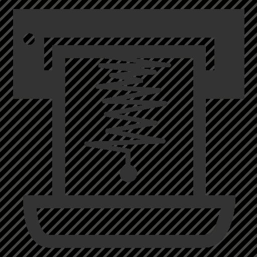 ekg, graph, print, report, result, seismogram, seismometer icon