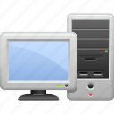 pc, computer, screen, monitor, desktop, tower case icon
