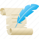 feather, quill, scroll, writing icon