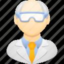 chemist, professor, safety goggles, science, scientist, teacher icon